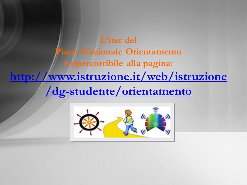 Liter del Piano Nazionale Orientamento è ripercorribile alla pagina: http://www.istruzione.it/web/istruzione /dg-studente/orientamento