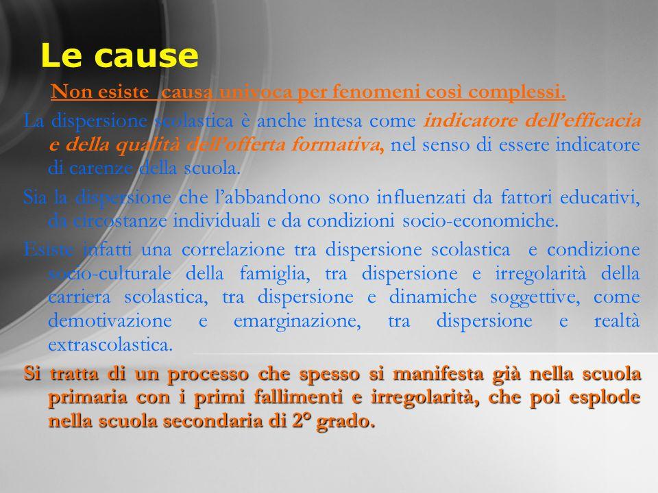 Le cause Non esiste causa univoca per fenomeni così complessi. La dispersione scolastica è anche intesa come indicatore dellefficacia e della qualità