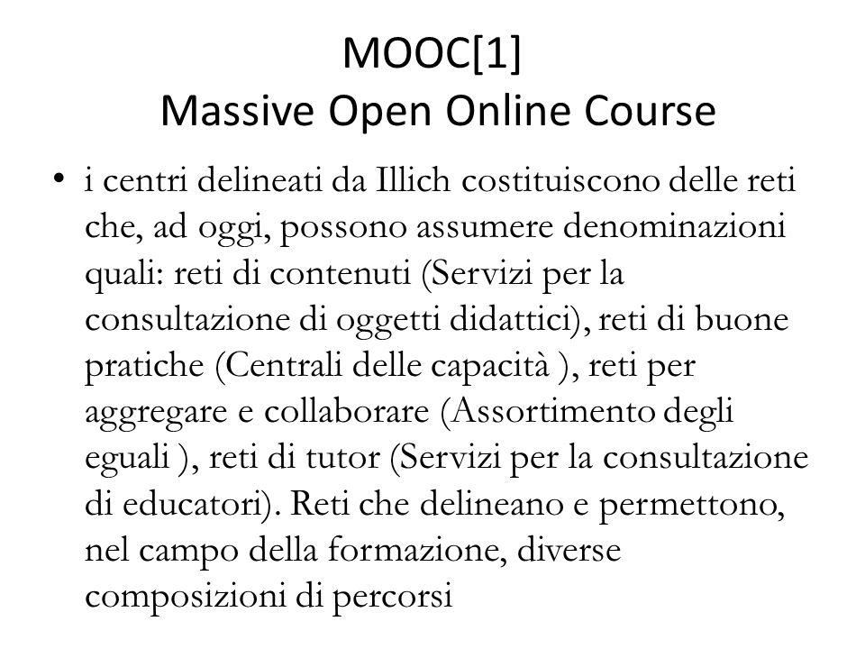 MOOC[1] Massive Open Online Course i centri delineati da Illich costituiscono delle reti che, ad oggi, possono assumere denominazioni quali: reti di contenuti (Servizi per la consultazione di oggetti didattici), reti di buone pratiche (Centrali delle capacità ), reti per aggregare e collaborare (Assortimento degli eguali ), reti di tutor (Servizi per la consultazione di educatori).