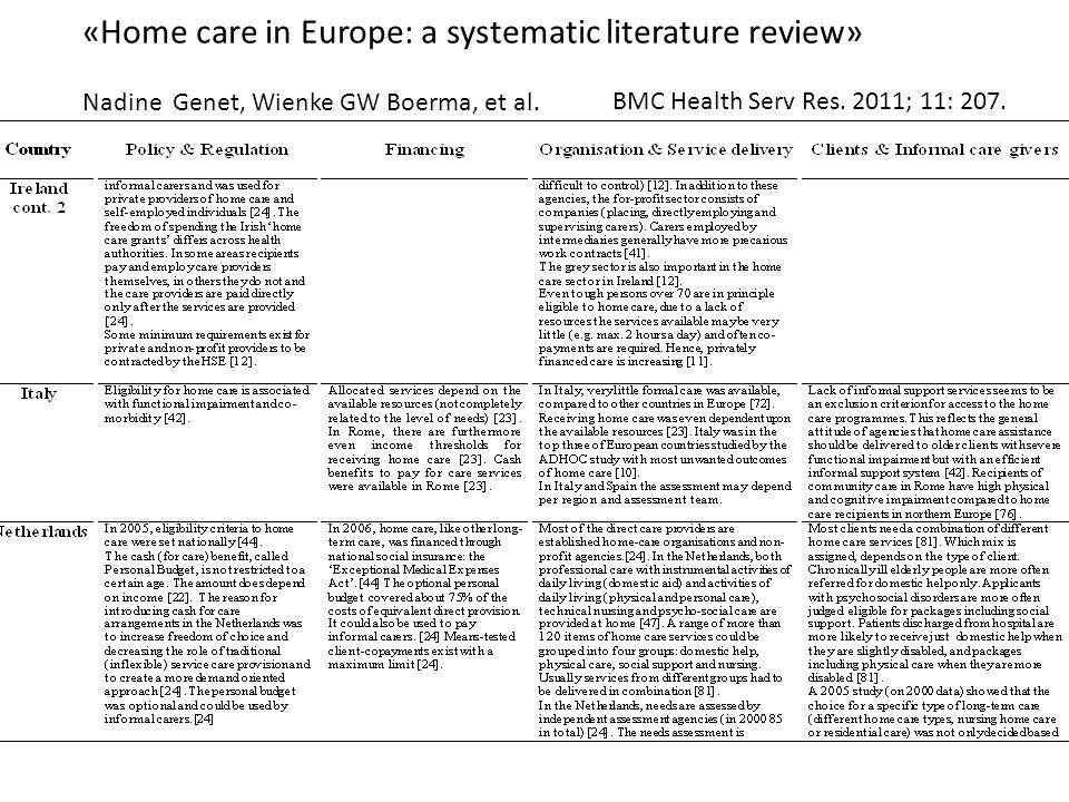 «Home care in Europe: a systematic literature review» Nadine Genet, Wienke GW Boerma, et al. BMC Health Serv Res. 2011; 11: 207.