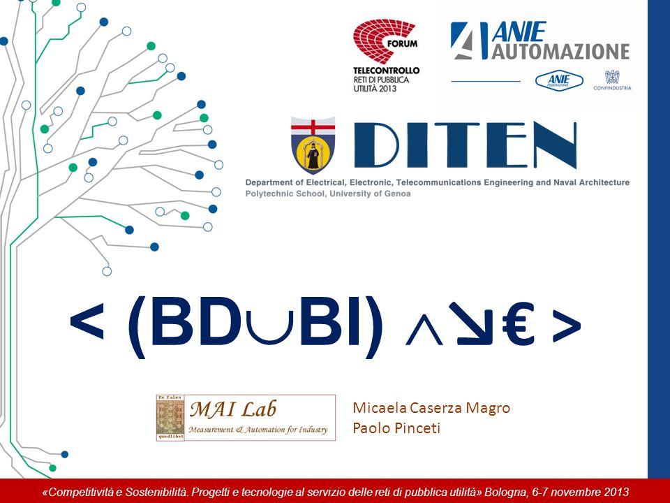 «Competitività e Sostenibilità. Progetti e tecnologie al servizio delle reti di pubblica utilità» Bologna, 6-7 novembre 2013 Micaela Caserza Magro Pao