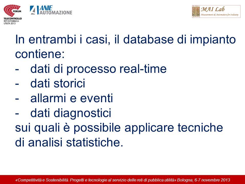 In entrambi i casi, il database di impianto contiene: -dati di processo real-time -dati storici -allarmi e eventi -dati diagnostici sui quali è possibile applicare tecniche di analisi statistiche.