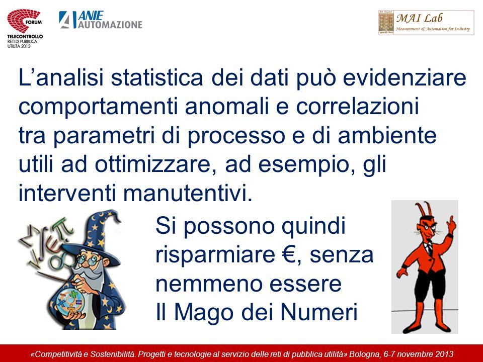 Lanalisi statistica dei dati può evidenziare comportamenti anomali e correlazioni tra parametri di processo e di ambiente utili ad ottimizzare, ad esempio, gli interventi manutentivi.