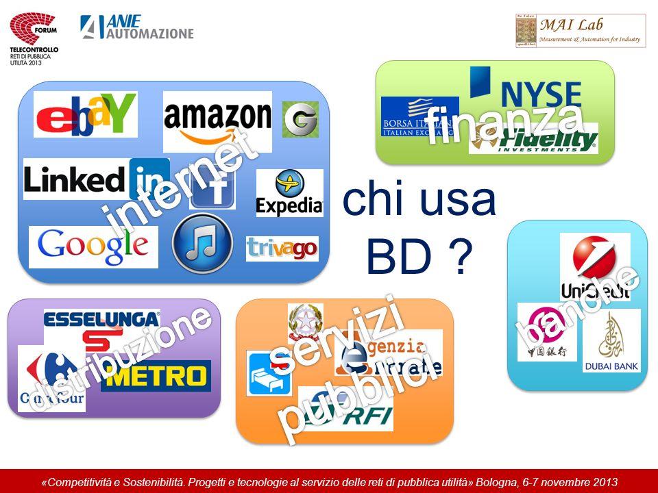 chi usa BD ? «Competitività e Sostenibilità. Progetti e tecnologie al servizio delle reti di pubblica utilità» Bologna, 6-7 novembre 2013