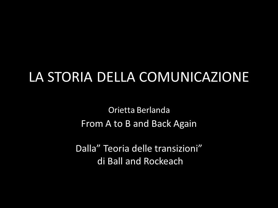 LA STORIA DELLA COMUNICAZIONE Orietta Berlanda From A to B and Back Again Dalla Teoria delle transizioni di Ball and Rockeach