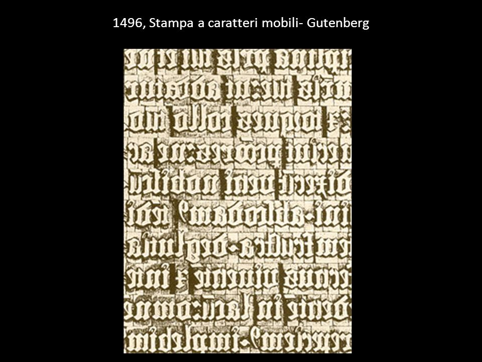 1496, Stampa a caratteri mobili- Gutenberg