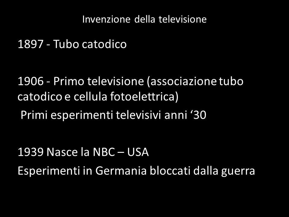 Invenzione della televisione 1897 - Tubo catodico 1906 - Primo televisione (associazione tubo catodico e cellula fotoelettrica) Primi esperimenti tele