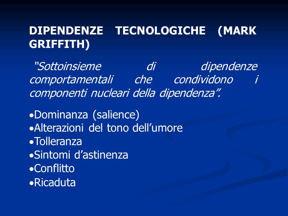 DIPENDENZE TECNOLOGICHE (MARK GRIFFITH) Sottoinsieme di dipendenze comportamentali che condividono i componenti nucleari della dipendenza. Dominanza (