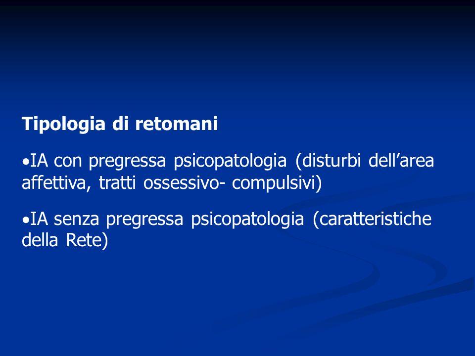 Tipologia di retomani IA con pregressa psicopatologia (disturbi dellarea affettiva, tratti ossessivo- compulsivi) IA senza pregressa psicopatologia (c
