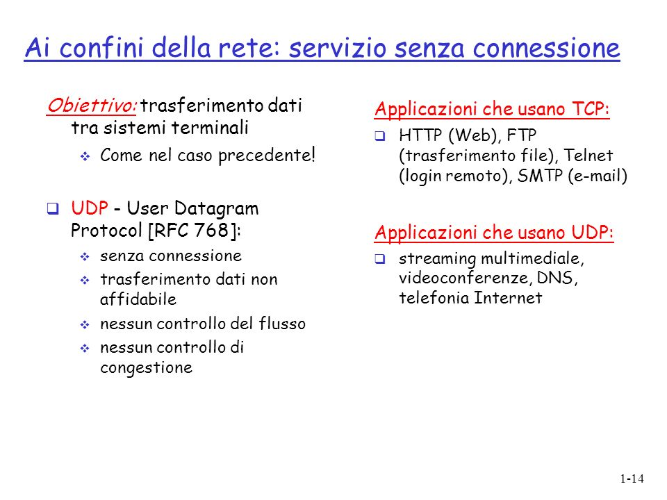 1-14 Ai confini della rete: servizio senza connessione Obiettivo: trasferimento dati tra sistemi terminali Come nel caso precedente .