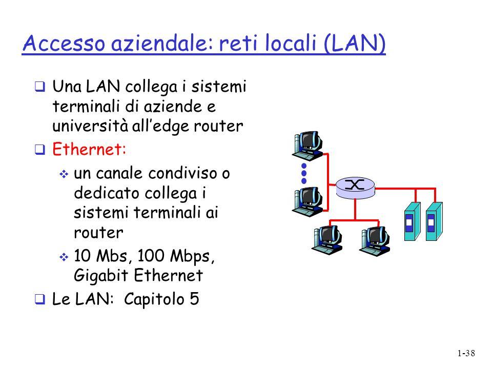 1-38 Accesso aziendale: reti locali (LAN) Una LAN collega i sistemi terminali di aziende e università alledge router Ethernet: un canale condiviso o dedicato collega i sistemi terminali ai router 10 Mbs, 100 Mbps, Gigabit Ethernet Le LAN: Capitolo 5