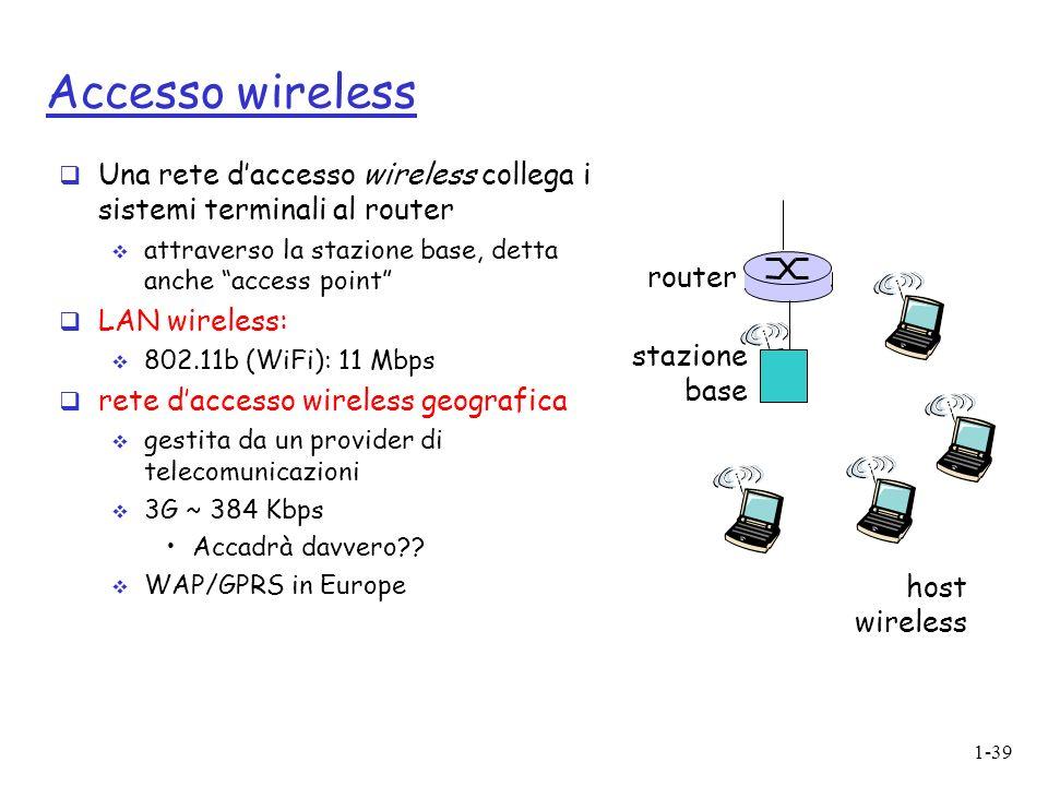 1-39 Accesso wireless Una rete daccesso wireless collega i sistemi terminali al router attraverso la stazione base, detta anche access point LAN wireless: 802.11b (WiFi): 11 Mbps rete daccesso wireless geografica gestita da un provider di telecomunicazioni 3G ~ 384 Kbps Accadrà davvero?.