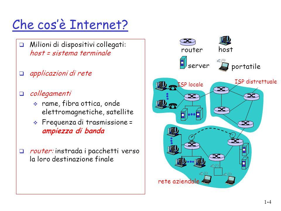 1-45 Struttura di Internet: la rete delle reti fondamentalmente gerarchica al centro: ISP di livello 1 o reti dorsali di Internet (es.: MCI, Sprint, AT&T, Cable&Wireless), copertura nazionale/ internazionale ISP di livello 1 Gli ISP di livello 1 sono direttamente connessi a ciascuno degli altri ISP di livello 1 NAP Gli ISP di livello 1 si collegano anche alla rete pubblica tramite punti di accesso alla rete (NAP)