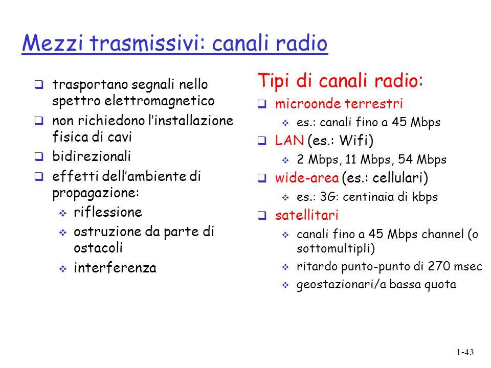 1-43 Mezzi trasmissivi: canali radio trasportano segnali nello spettro elettromagnetico non richiedono linstallazione fisica di cavi bidirezionali effetti dellambiente di propagazione: riflessione ostruzione da parte di ostacoli interferenza Tipi di canali radio: microonde terrestri es.: canali fino a 45 Mbps LAN (es.: Wifi) 2 Mbps, 11 Mbps, 54 Mbps wide-area (es.: cellulari) es.: 3G: centinaia di kbps satellitari canali fino a 45 Mbps channel (o sottomultipli) ritardo punto-punto di 270 msec geostazionari/a bassa quota