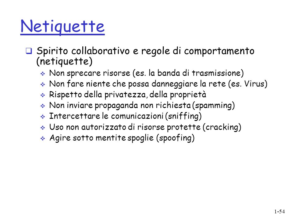 1-54 Netiquette Spirito collaborativo e regole di comportamento (netiquette) Non sprecare risorse (es.