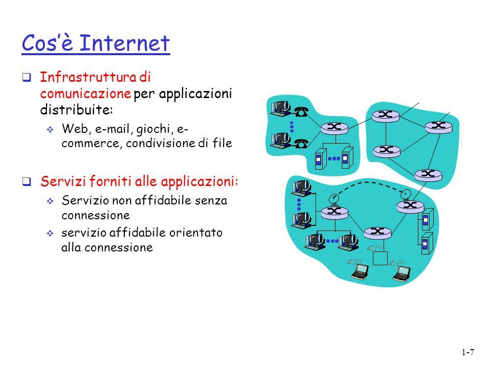 1-7 Cosè Internet Infrastruttura di comunicazione per applicazioni distribuite: Web, e-mail, giochi, e- commerce, condivisione di file Servizi forniti alle applicazioni: Servizio non affidabile senza connessione servizio affidabile orientato alla connessione
