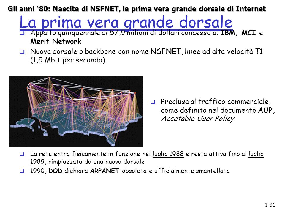 1-81 La prima vera grande dorsale Appalto quinquennale di 57,9 milioni di dollari concesso a: IBM, MCI e Merit Network Nuova dorsale o backbone con nome NSFNET, linee ad alta velocità T1 (1,5 Mbit per secondo) Preclusa al traffico commerciale, come definito nel documento AUP, Accetable User Policy La rete entra fisicamente in funzione nel luglio 1988 e resta attiva fino al luglio 1989, rimpiazzata da una nuova dorsale 1990, DOD dichiara ARPANET obsoleta e ufficialmente smantellata Gli anni 80: Nascita di NSFNET, la prima vera grande dorsale di Internet