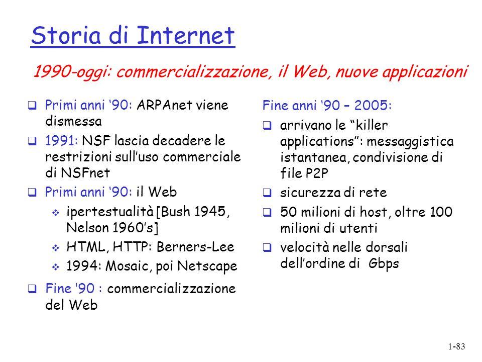 1-83 Storia di Internet Primi anni 90: ARPAnet viene dismessa 1991: NSF lascia decadere le restrizioni sulluso commerciale di NSFnet Primi anni 90: il Web ipertestualità [Bush 1945, Nelson 1960s] HTML, HTTP: Berners-Lee 1994: Mosaic, poi Netscape Fine 90 : commercializzazione del Web Fine anni 90 – 2005: arrivano le killer applications: messaggistica istantanea, condivisione di file P2P sicurezza di rete 50 milioni di host, oltre 100 milioni di utenti velocità nelle dorsali dellordine di Gbps 1990-oggi: commercializzazione, il Web, nuove applicazioni