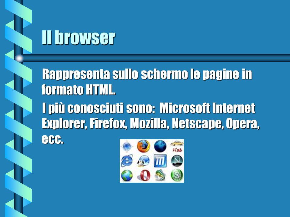 Il browser Rappresenta sullo schermo le pagine in formato HTML.