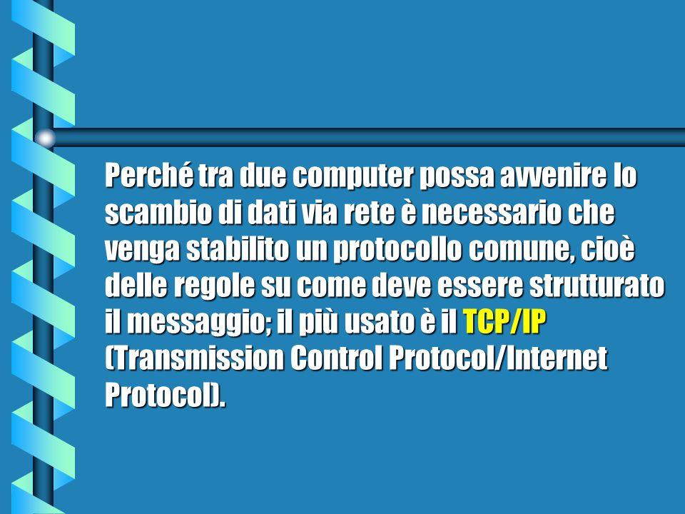 Perché tra due computer possa avvenire lo scambio di dati via rete è necessario che venga stabilito un protocollo comune, cioè delle regole su come deve essere strutturato il messaggio; il più usato è il TCP/IP (Transmission Control Protocol/Internet Protocol).