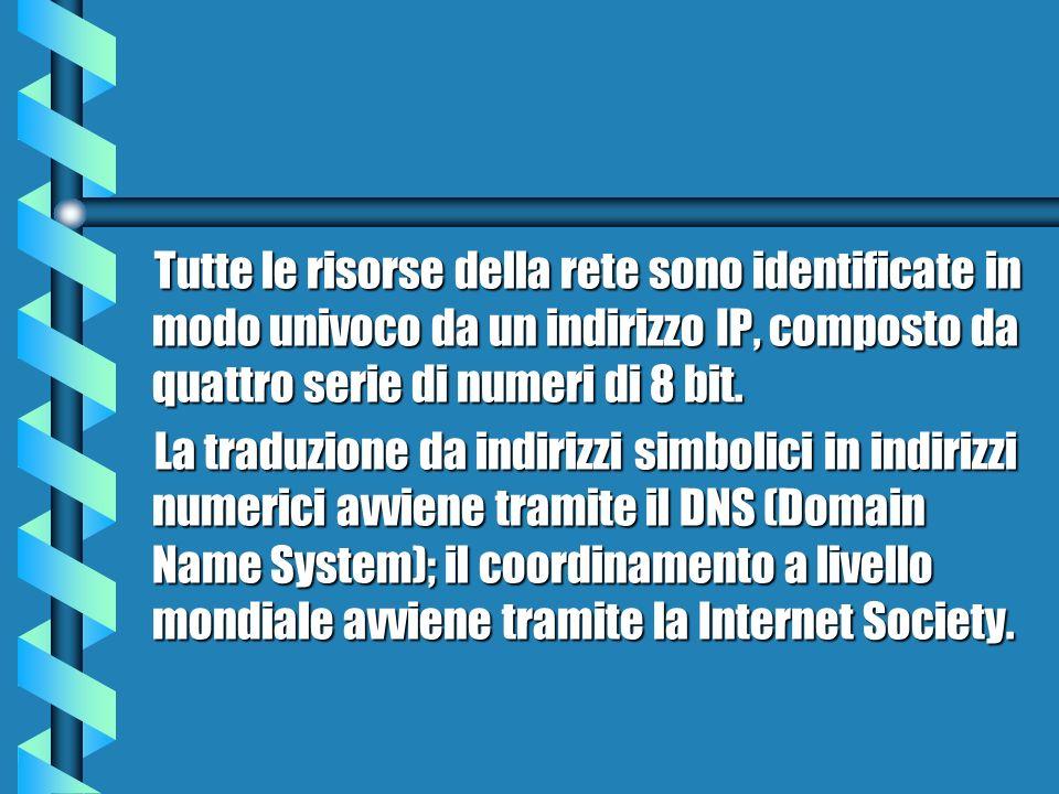 Tutte le risorse della rete sono identificate in modo univoco da un indirizzo IP, composto da quattro serie di numeri di 8 bit.