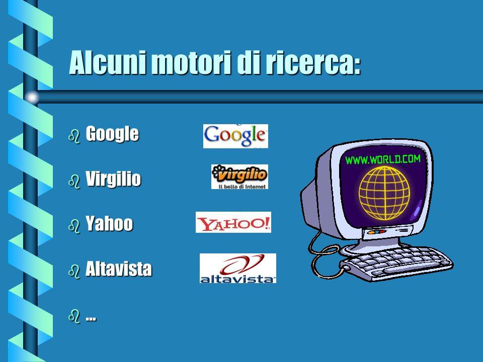Alcuni motori di ricerca: b Google b Virgilio b Yahoo b Altavista b…b…b…b…