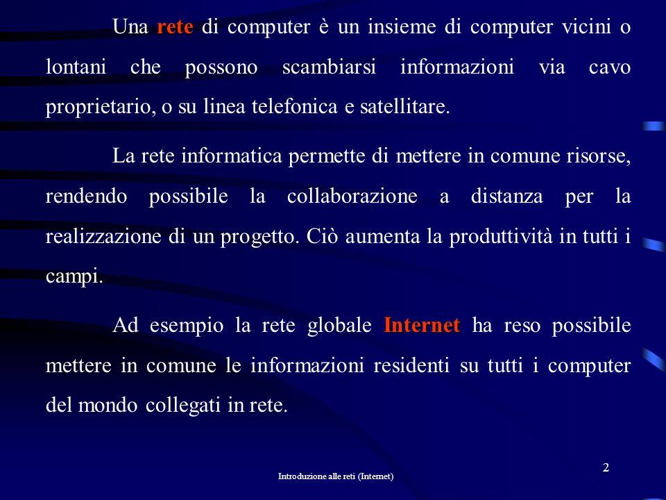 Introduzione alle reti (Internet) 2 rete Una rete di computer è un insieme di computer vicini o lontani che possono scambiarsi informazioni via cavo proprietario, o su linea telefonica e satellitare.