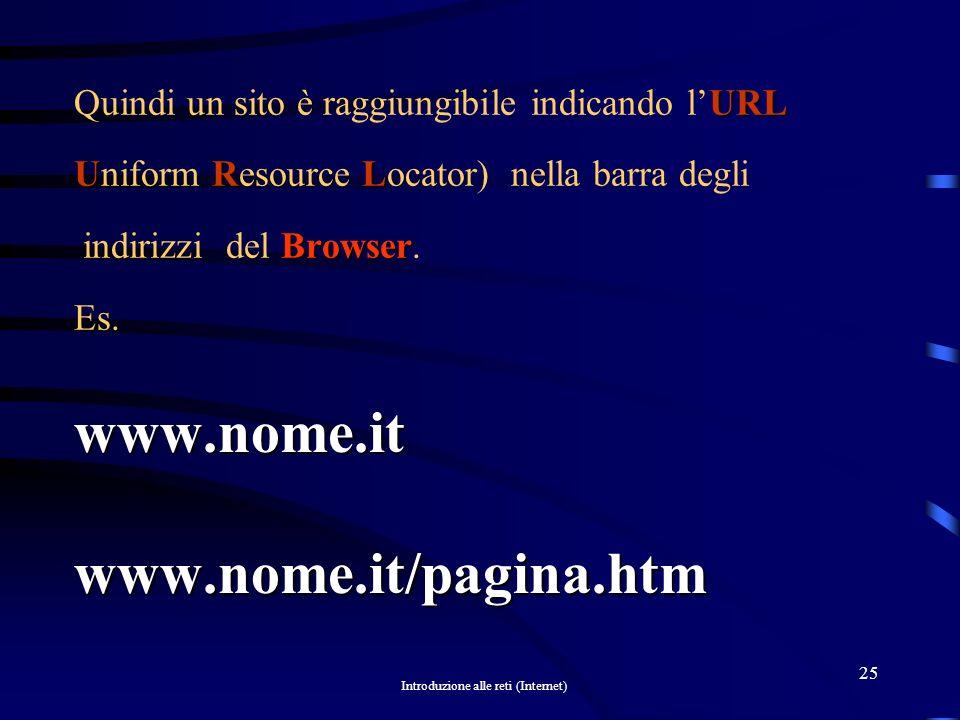 Introduzione alle reti (Internet) 24 DNS IPIP URL.