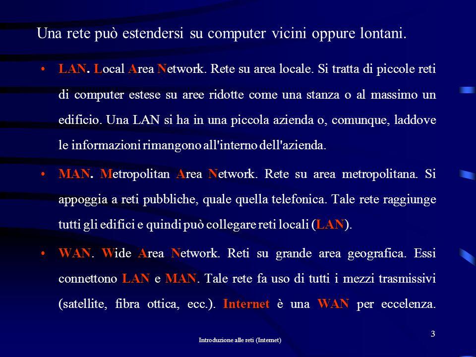 Introduzione alle reti (Internet) 3 Una rete può estendersi su computer vicini oppure lontani.