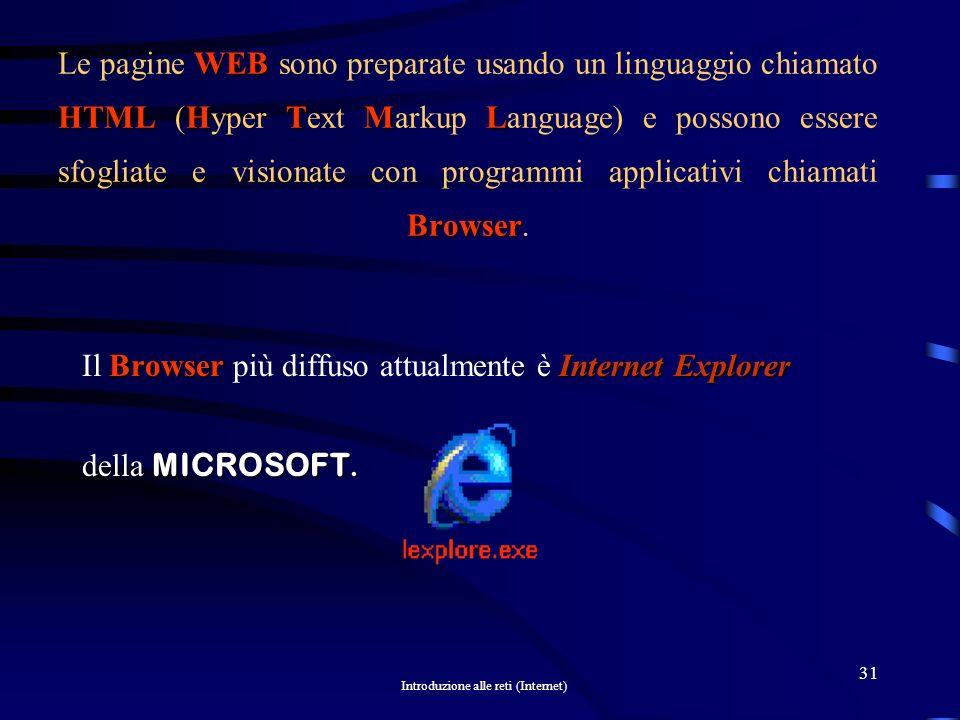 Introduzione alle reti (Internet) 30 InternetWorld Wide Web WWW È importante comprendere subito la differenza che esiste tra Internet e il World Wide Web.