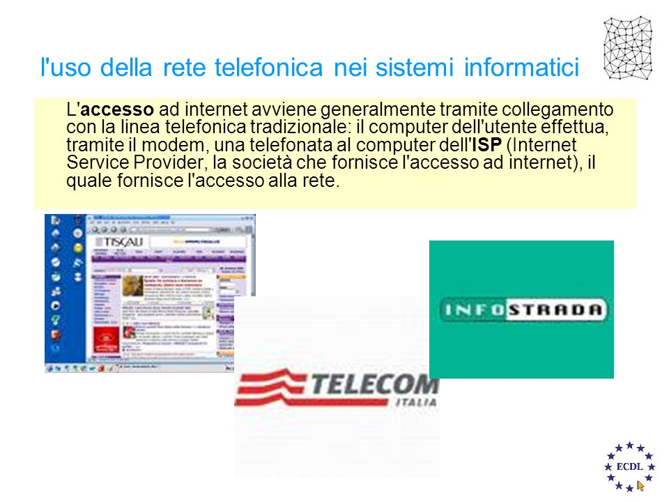 l'uso della rete telefonica nei sistemi informatici L'accesso ad internet avviene generalmente tramite collegamento con la linea telefonica tradiziona