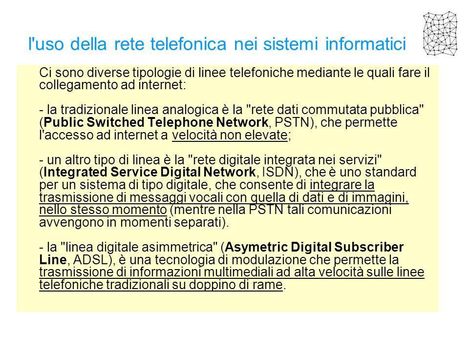 l'uso della rete telefonica nei sistemi informatici Ci sono diverse tipologie di linee telefoniche mediante le quali fare il collegamento ad internet: