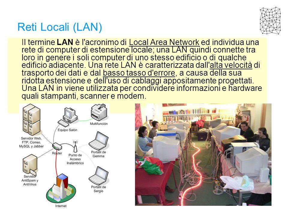 Reti Locali (LAN) Il termine LAN è l'acronimo di Local Area Network ed individua una rete di computer di estensione locale; una LAN quindi connette tr