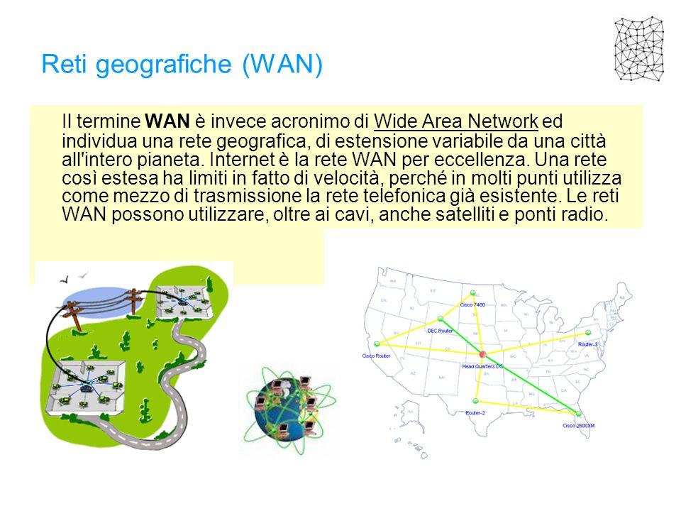 Reti geografiche (WAN) Il termine WAN è invece acronimo di Wide Area Network ed individua una rete geografica, di estensione variabile da una città al