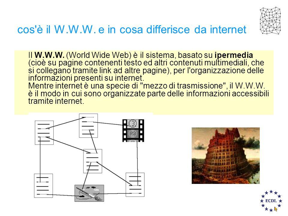 cos'è il W.W.W. e in cosa differisce da internet Il W.W.W. (World Wide Web) è il sistema, basato su ipermedia (cioè su pagine contenenti testo ed altr