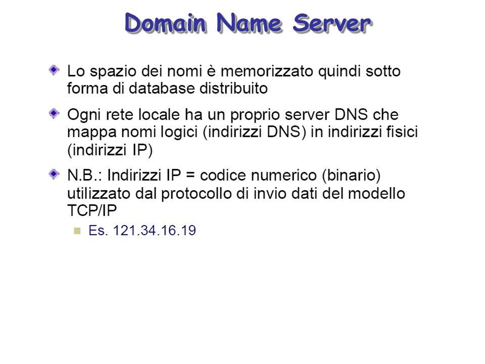 Spazio dei nomi a dominio Name server Il Database distribuito del DNS può essere rappresentato come un grande albero invertito chiamato Domain Name Space, ogni nodo del quale individua una unità elementare di dati attraverso un nome
