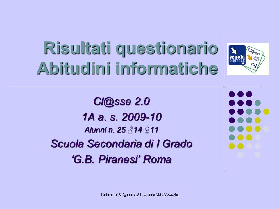 Referente Cl@sse 2.0 Prof.ssa M.R.Mazzola Risultati questionario Abitudini informatiche Cl@sse 2.0 1A a. s. 2009-10 Alunni n. 25 14 11 Scuola Secondar