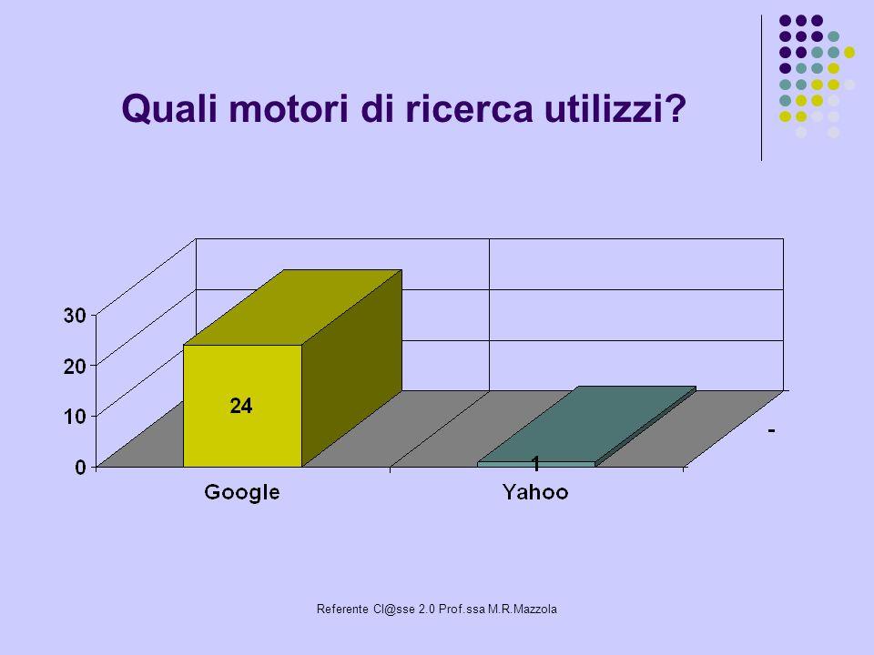 Referente Cl@sse 2.0 Prof.ssa M.R.Mazzola Quali motori di ricerca utilizzi?