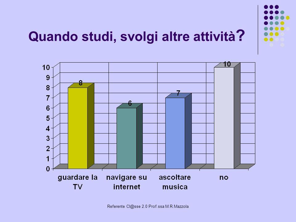 Referente Cl@sse 2.0 Prof.ssa M.R.Mazzola Quando studi, svolgi altre attività ?