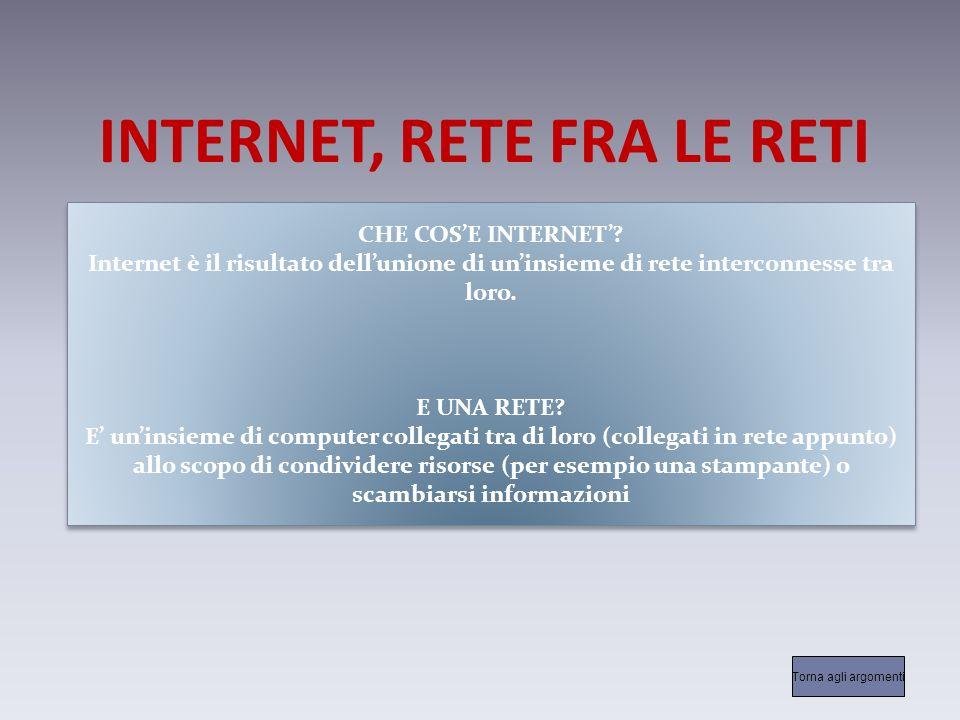 INTERNET, RETE FRA LE RETI CHE COSE INTERNET.