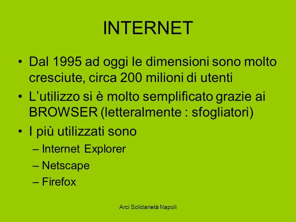 Arci Solidarietà Napoli INTERNET Dal 1995 ad oggi le dimensioni sono molto cresciute, circa 200 milioni di utenti Lutilizzo si è molto semplificato gr