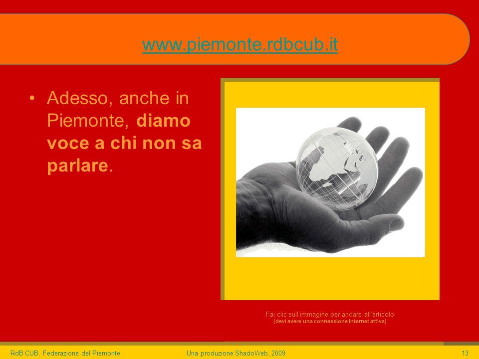 RdB CUB, Federazione del PiemonteUna produzione ShadoWeb, 200913 Adesso, anche in Piemonte, diamo voce a chi non sa parlare.