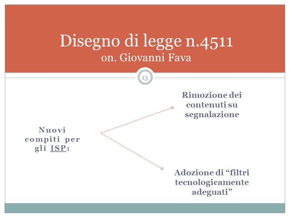 Nuovi compiti per gli ISP: 13 Disegno di legge n.4511 on. Giovanni Fava Rimozione dei contenuti su segnalazione Adozione di filtri tecnologicamente ad