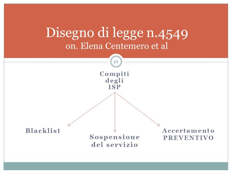 Compiti degli ISP 16 Disegno di legge n.4549 on. Elena Centemero et al Sospensione del servizio Blacklist Accertamento PREVENTIVO