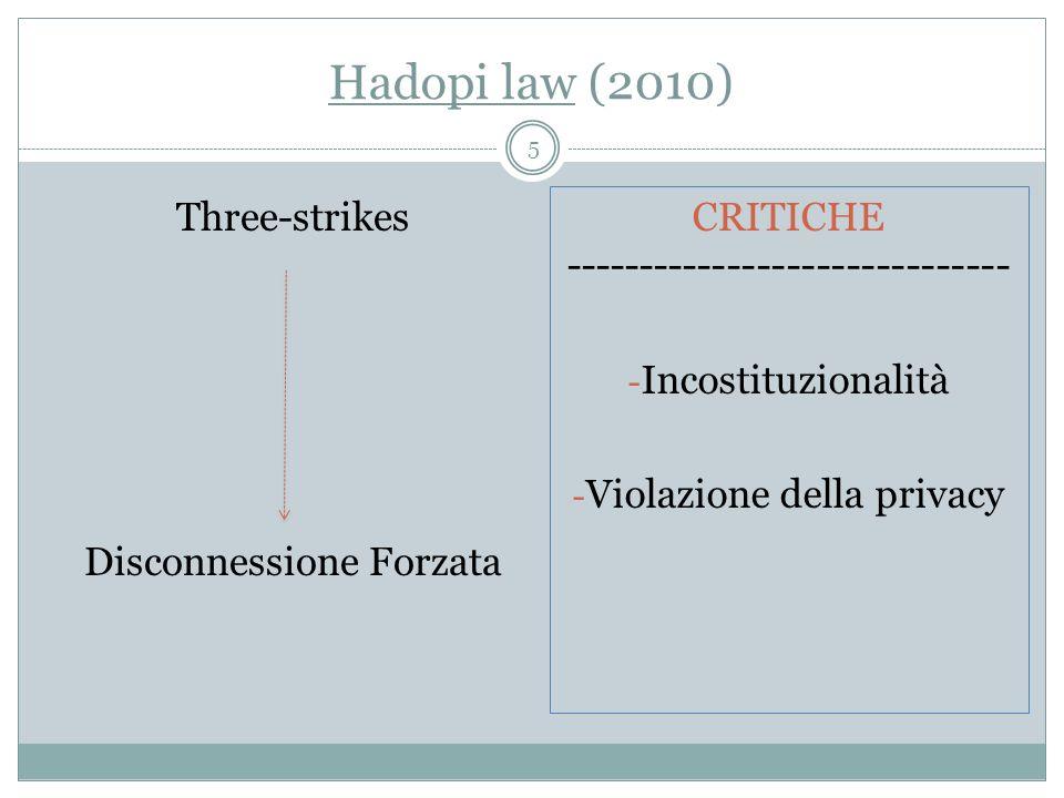 Hadopi law (2010) Three-strikes Disconnessione Forzata CRITICHE ------------------------------ - Incostituzionalità - Violazione della privacy 5