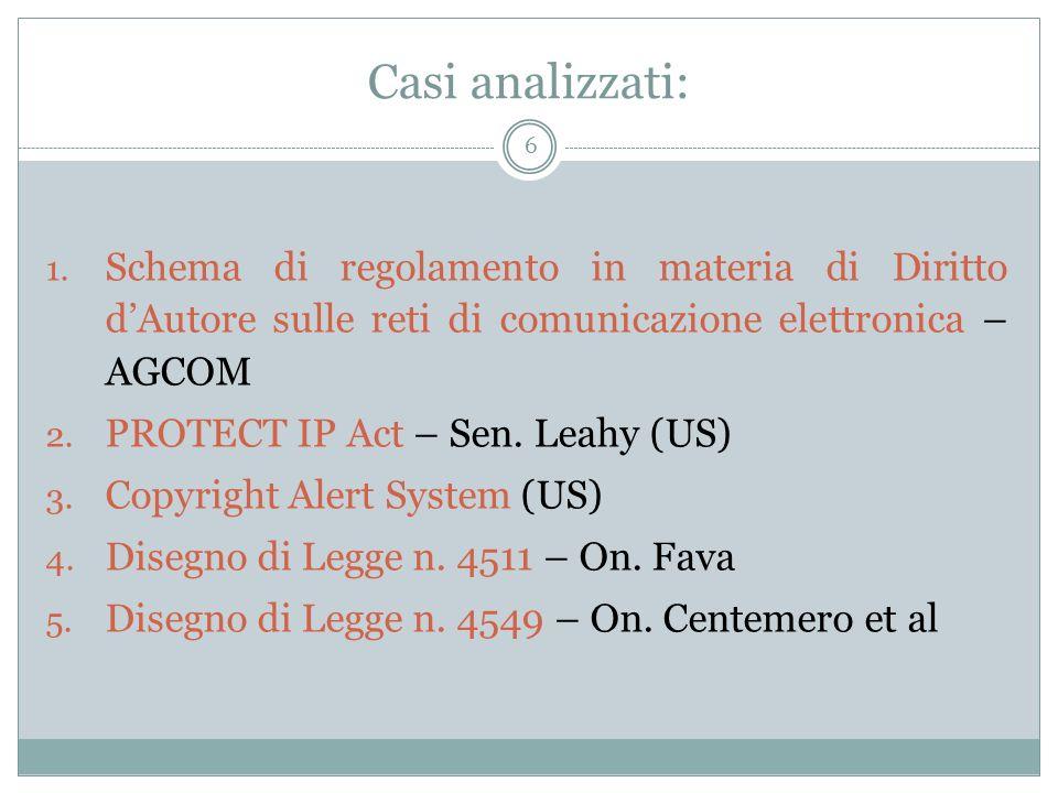 Casi analizzati: 6 1. Schema di regolamento in materia di Diritto dAutore sulle reti di comunicazione elettronica – AGCOM 2. PROTECT IP Act – Sen. Lea