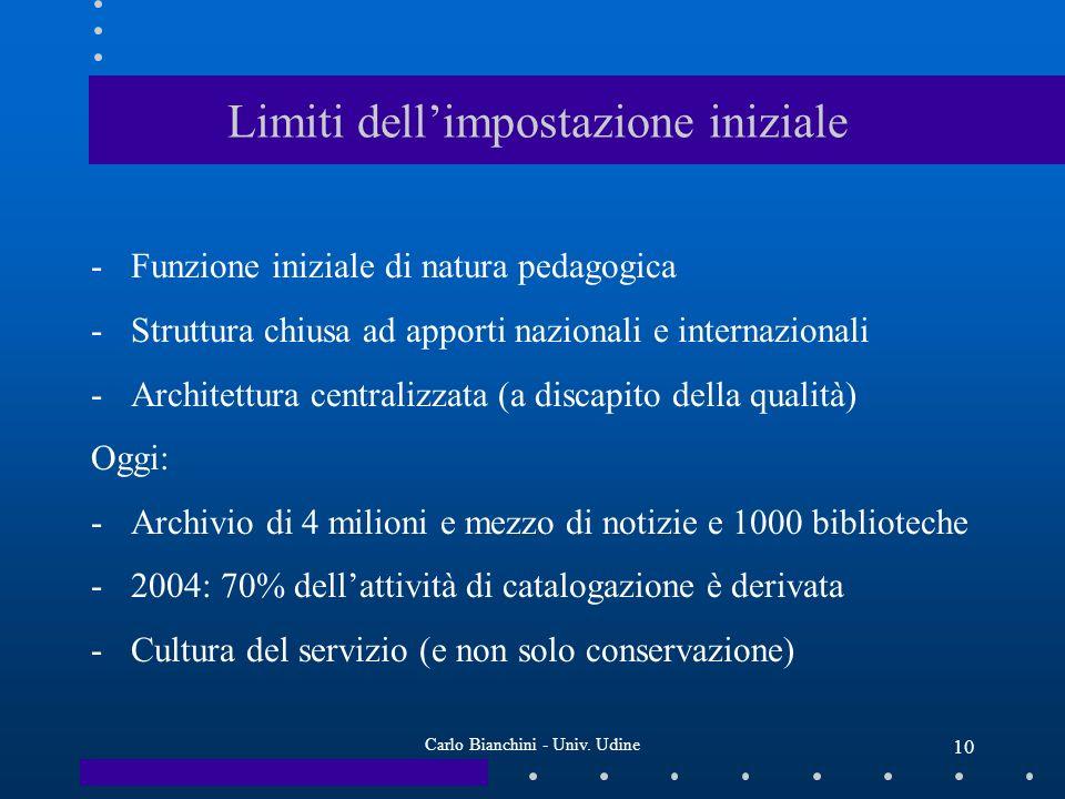 Carlo Bianchini - Univ. Udine 10 Limiti dellimpostazione iniziale -Funzione iniziale di natura pedagogica -Struttura chiusa ad apporti nazionali e int