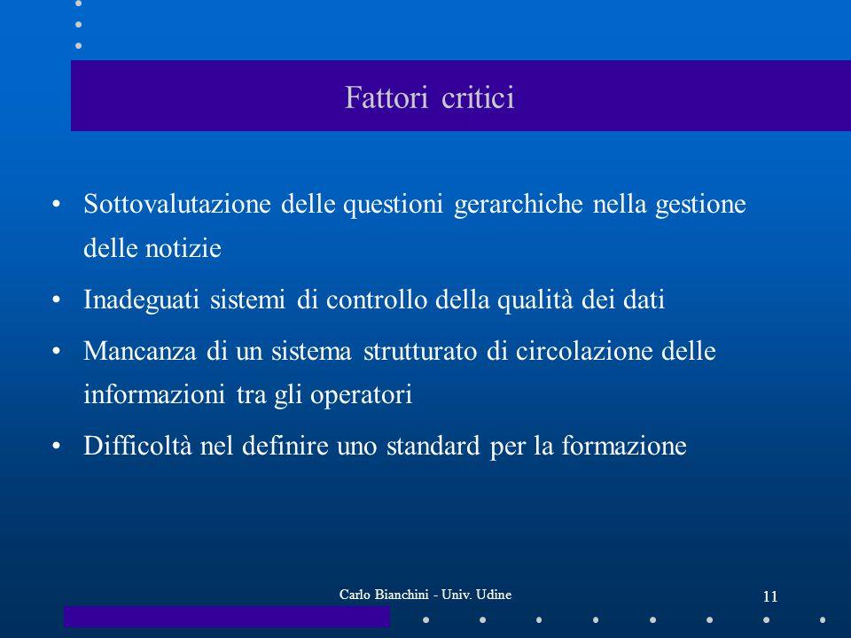 Carlo Bianchini - Univ. Udine 11 Fattori critici Sottovalutazione delle questioni gerarchiche nella gestione delle notizie Inadeguati sistemi di contr