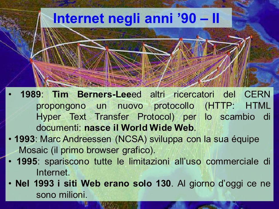 Internet negli anni 90 – II 1989: Tim Berners-Leeed altri ricercatori del CERN propongono un nuovo protocollo (HTTP: HTML Hyper Text Transfer Protocol) per lo scambio di documenti: nasce il World Wide Web.