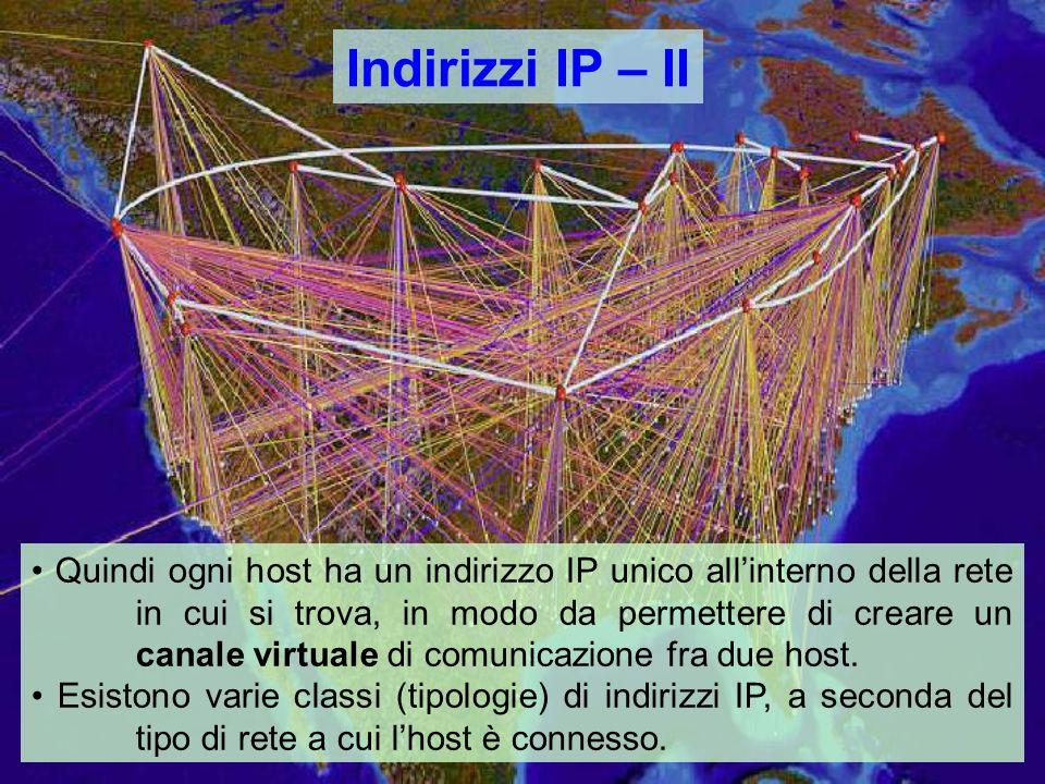 Indirizzi IP – II Quindi ogni host ha un indirizzo IP unico allinterno della rete in cui si trova, in modo da permettere di creare un canale virtuale di comunicazione fra due host.
